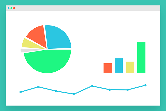 グラフを表示しているウェブブラウザのイラスト