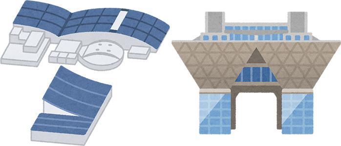 幕張メッセと東京ビッグサイトの建物を描いたイラスト