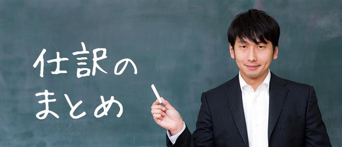黒板に書いた「仕訳のまとめ」の文字を指差す講師