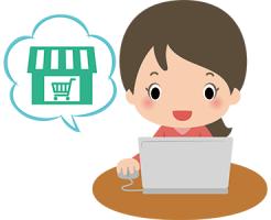 ノートパソコンでネットショッピングをしている女性のイラスト