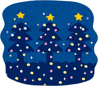木に飾られたクリスマスのイルミネーションを描いたイラスト