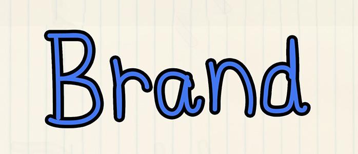 ノートに書かれた「Brand」の文字