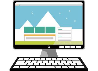 ウェブサイトを表現したPCモニターのイラスト