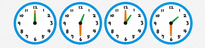 30分刻みの時計のイラスト