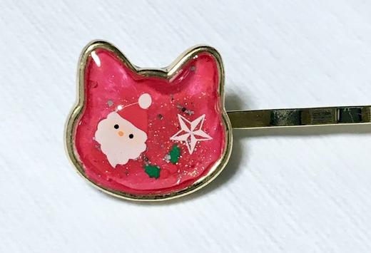 商品画像「猫のクリスマスヘアピン」